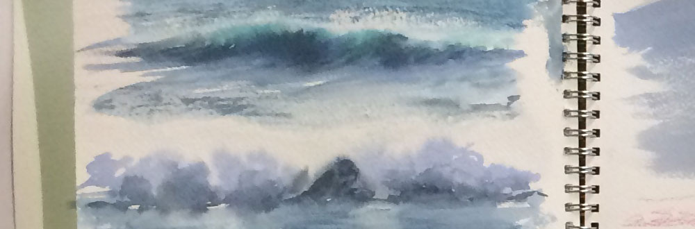 Steps and Waves. Produced with candle wax by Watercolour Artist Wendy Parkyn