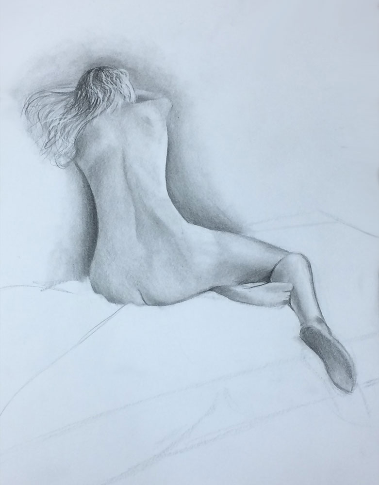 Life Drawing with Ian Barlow, 2016 Drawing by Artist Sophie Lawson