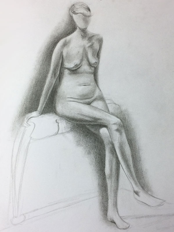 Graphite Pencil Life Drawing Long Pose Sketch from Sophie's Sketchbook, by Artist Sophie Lawson