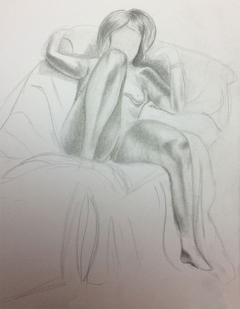 Life Drawing with Ian Barlow, 2017 Drawing by Artist Sophie Lawson