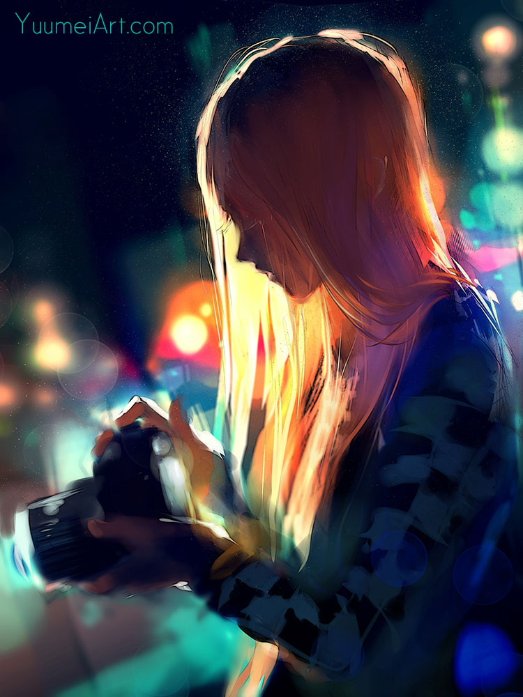Digital Artwork entitled Alone Among The Lights, by Artist Yuumei