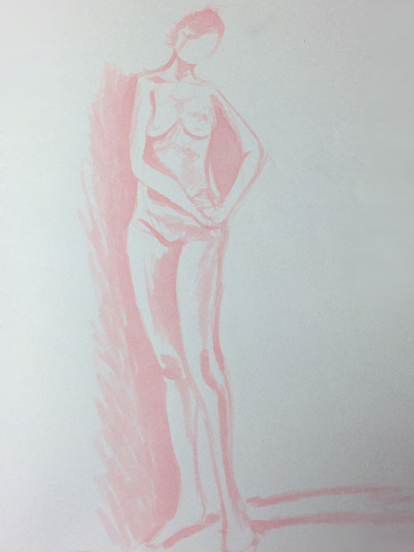 Tombow ABT Dual Brush Pen, 800 - Baby Pink Quick Pose Life Drawing Sketch, by Artist Sophie Lawson