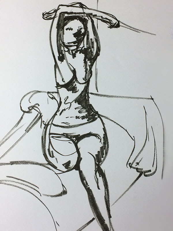 Life Drawing Quick Pose Black Sharpie Sketch from Sophie's Sketchbook, by Artist Sophie Lawson