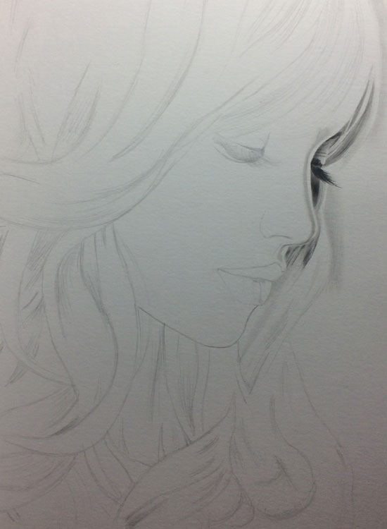 Girl with Long Lashes, Realistic Pencil Drawing Work in Progress image 1, by Artist Sophie Lawson