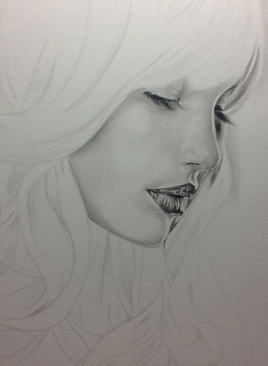 Girl with Long Lashes, Realistic Pencil Drawing Work in Progress image 2, by Artist Sophie Lawson