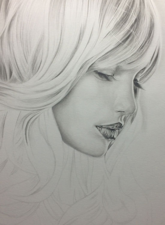 Girl with Long Lashes, Realistic Pencil Drawing Work in Progress image 3, by Artist Sophie Lawson