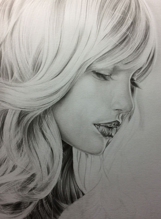 Girl with Long Lashes, Realistic Pencil Drawing Work in Progress image 4, by Artist Sophie Lawson