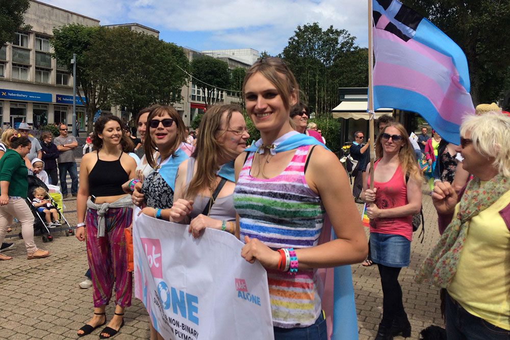 Marching with Not Alone Plymouth - Plymouth Pride 2017, by Transgender Artist Sophie Lawson