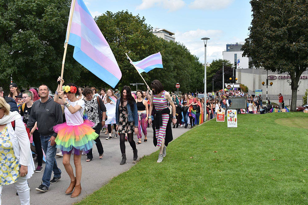 Proudly Waving The Trans Flag - Plymouth Pride 2017, by Transgender Artist Sophie Lawson