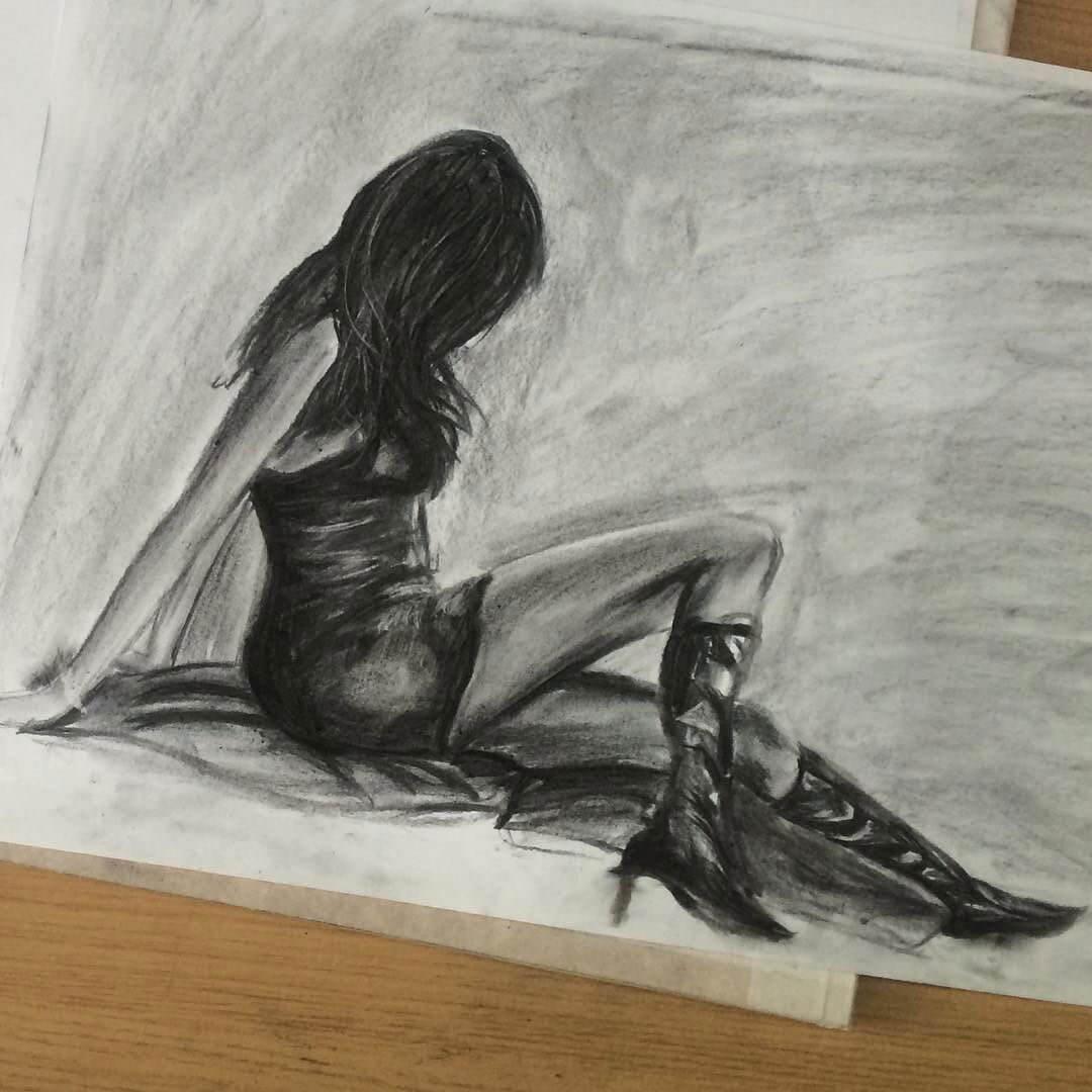 Charcoal Female Figure Sketch of one of my Photos, from Sophie's Sketchbook, by Artist Sophie Lawson