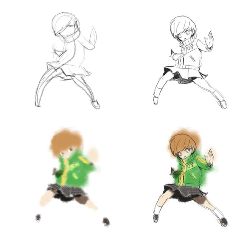 Learning Digital Painting Day 006 - Chie from Persona 4 Digital Sketch