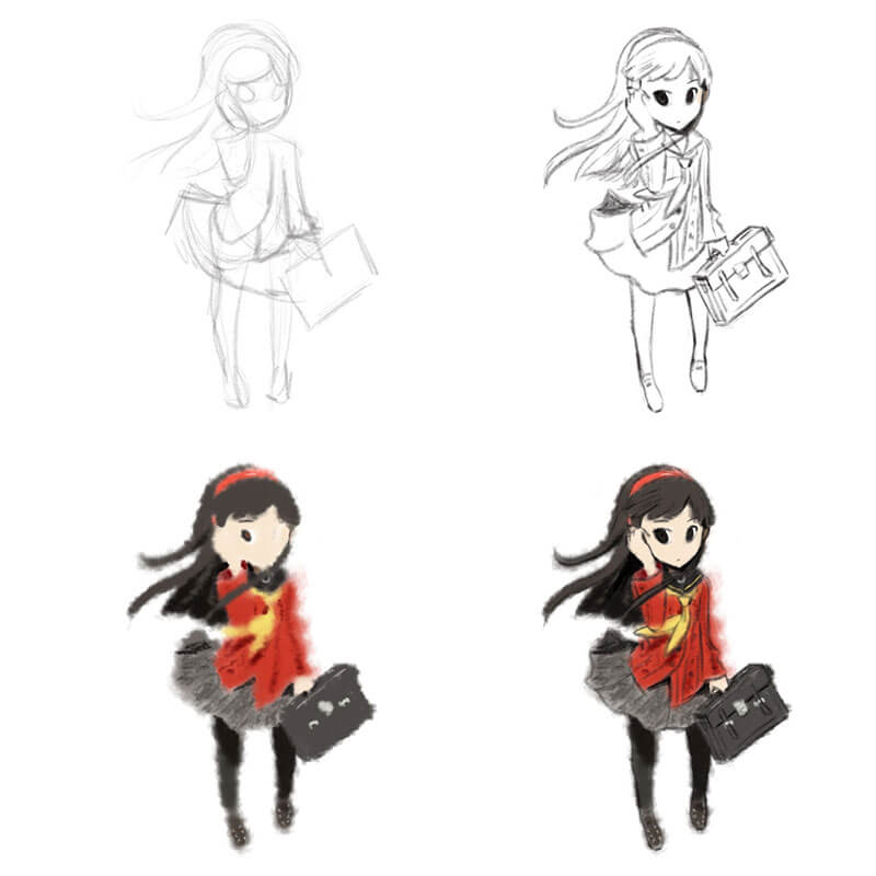 Yukiko from persona 4 Digital Sketch Drawing by Transgender Artist Sophie Lawson