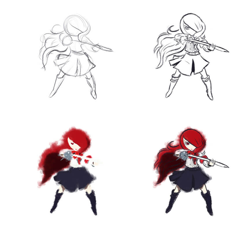 Learning Digital Painting Day 008 - Mitsuru Persona 3 Drawing, and Pure Ref