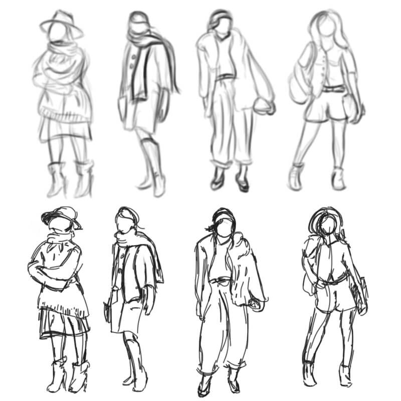 Learning Digital Painting Day 009 - Fashion Design Costume Gesture Sketches