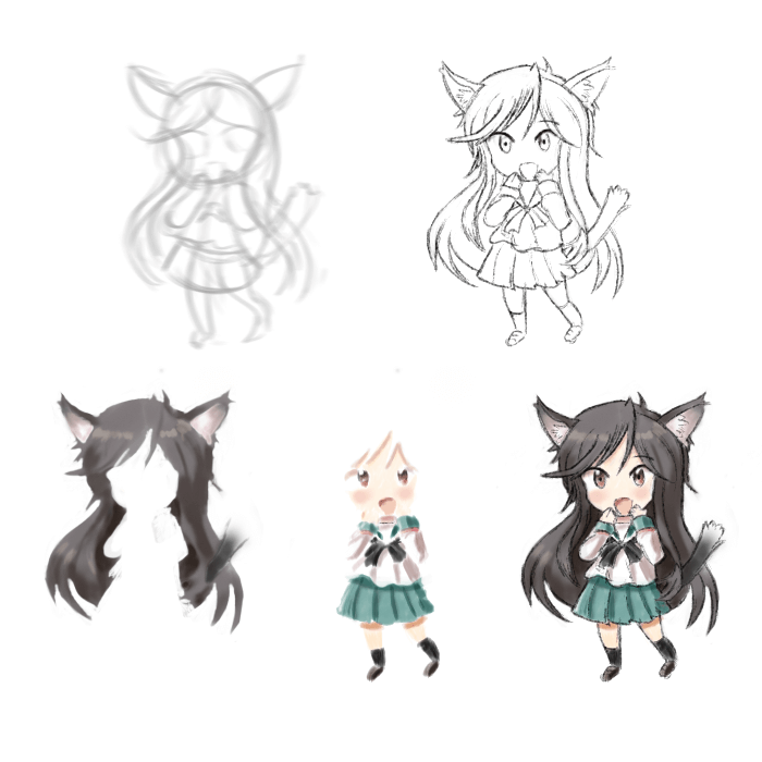 Chibi Cat Girl Character - Learning Digital Painting with Transgender Artist Sophie Lawson