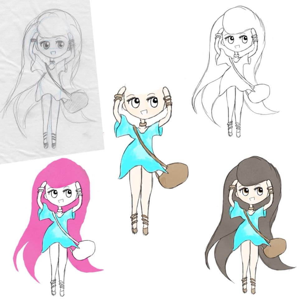lilSOPHIE Chibi Character Digital Sketches - Learning Digital Painting with Transgender Artist Sophie Lawson