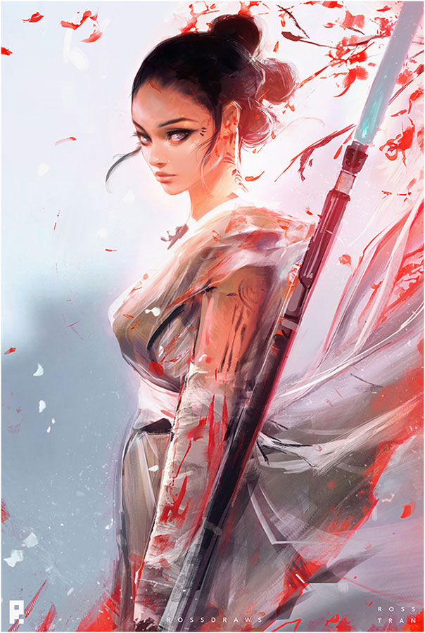 Inspirational Digital Painting entitled Rey from Starwars, by Artist Ross Tran, aka, RossDraws