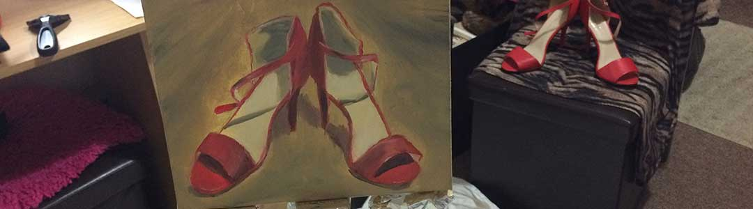 Six Days of High Heels Still Life Painting, in the February 2018 30 in 30 Painting Challenge, with Transgender Artist Sophie Lawson