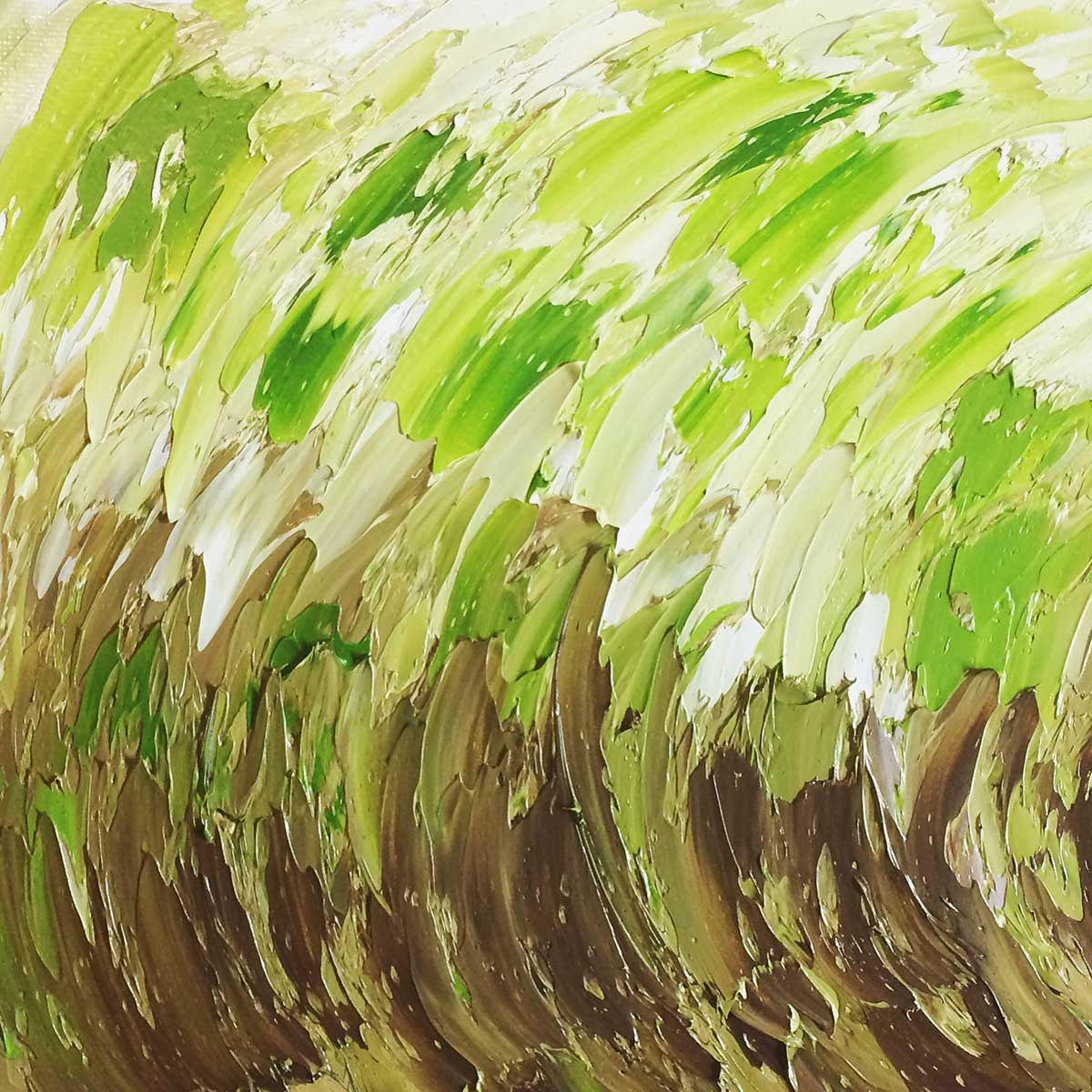 Converging, Green and Brown Oil Abstract Painting: 30 in 30 Painting Challenge 2018, with Transgender Artist Sophie Lawson