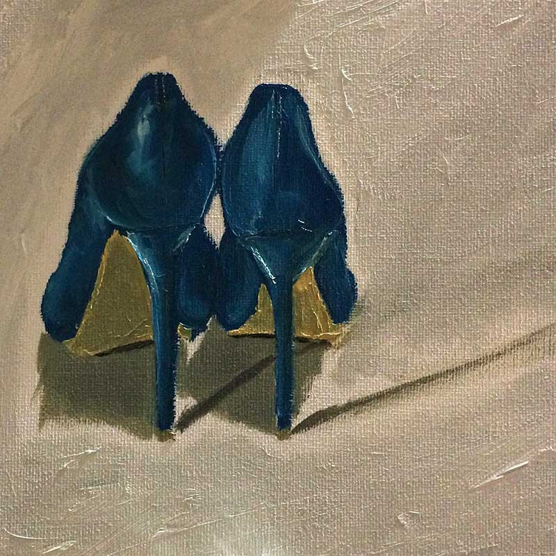 Blue High Heels Still Life Painting: 30 in 30 Painting Challenge 2018, with Transgender Artist Sophie Lawson