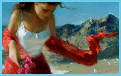 RED SCARF WIND BY VLADIMIR VOLEGOV