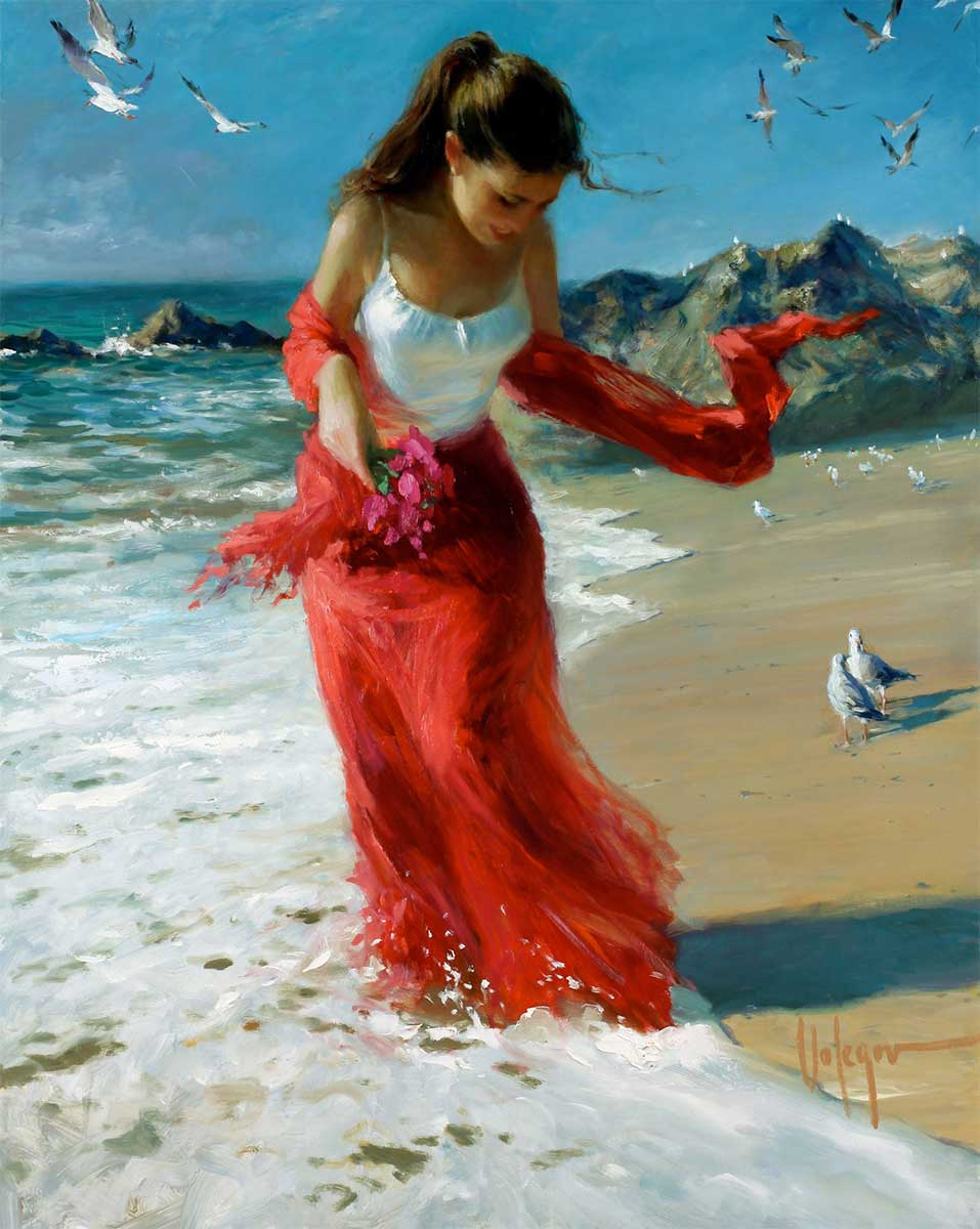 Inspirational Oil Painting entitled Red Scarf Wind, by Vladimir Volegov