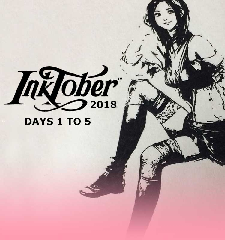 Inktober 2018, Inking Final Fantasy XIII Drawings, my Custom Character lilSOPHIE and the X-Actro Retractable Knife, with Transgender Artist Sophie Lawson