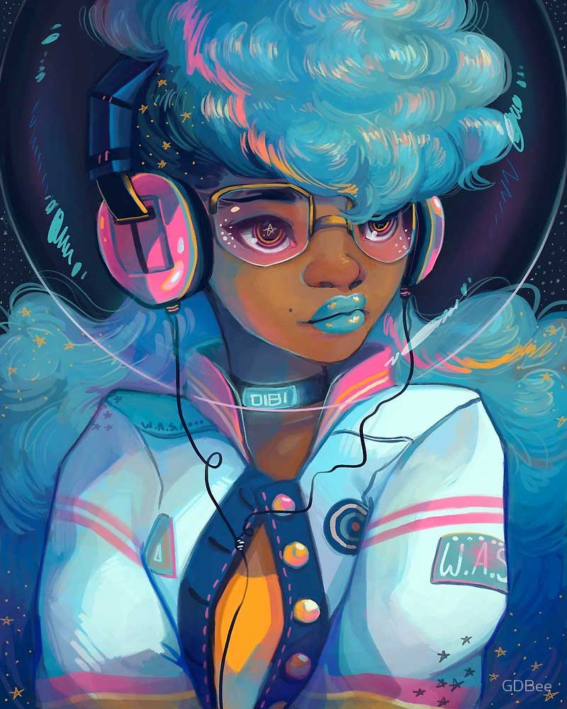 Inspirational Digital Painting entitled Space Letterman, by Digital Artist Geneva Benton, aka GDBEE