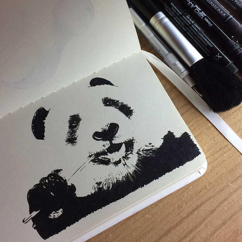 Panda Ink Drawing. Day 16 of Inktober 2018, with Transgender Artist Sophie Lawson