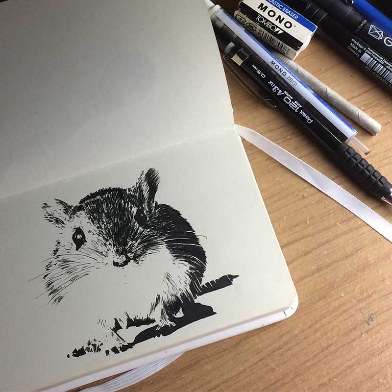 Mouse Ink Drawing. Day 18 of Inktober 2018, with Transgender Artist Sophie Lawson