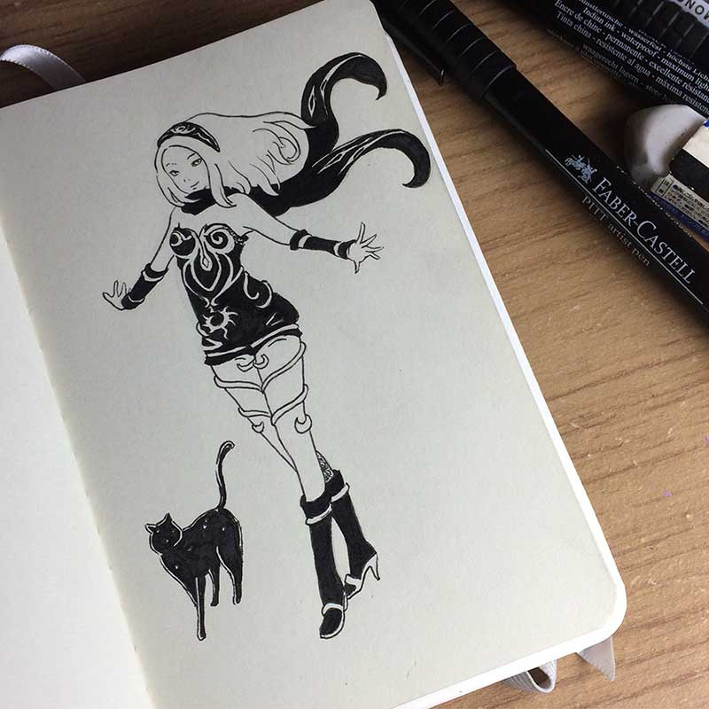 Kat, from the videogame Gravity Rush, Ink Drawing. Day 24 of Inktober 2018, with Transgender Artist Sophie Lawson