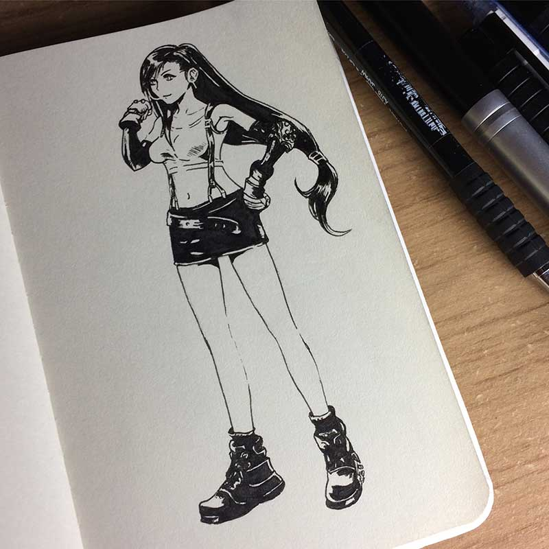 Tifa Lockhart, from the videogame Final Fantasy VII, Ink Drawing. Day 26 of Inktober 2018, with Transgender Artist Sophie Lawson