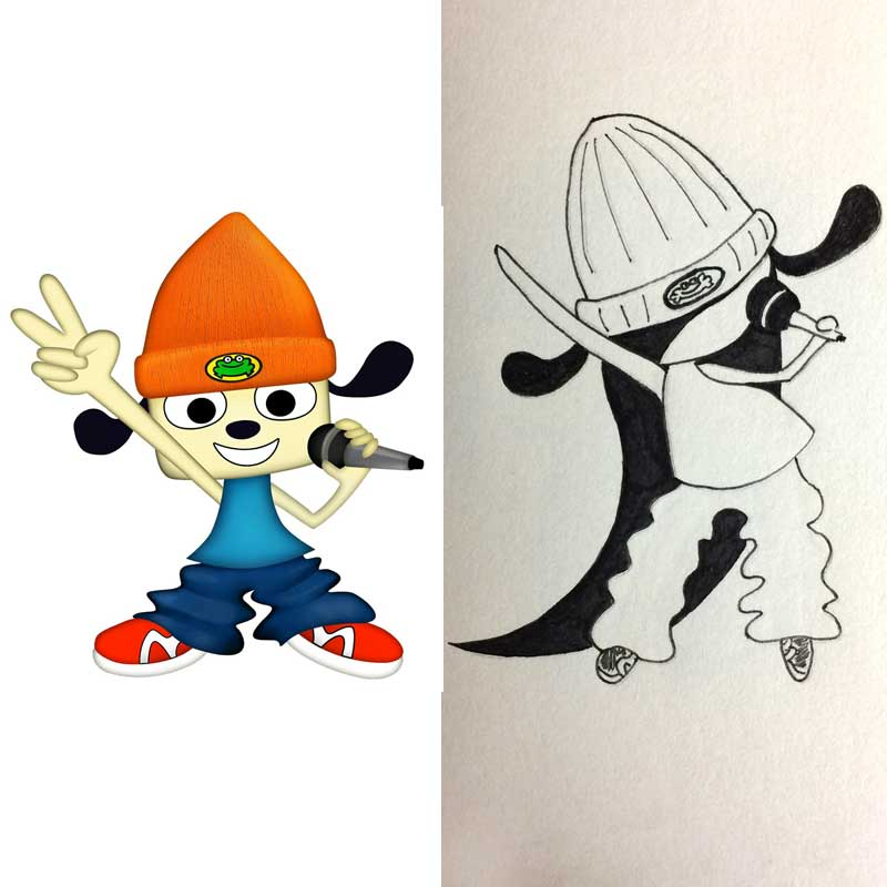 lilSOPHIE cosplaying videogame character Parappa the Rapper Ink Drawing, Day 27 of Inktober 2018, with Transgender Artist Sophie Lawson