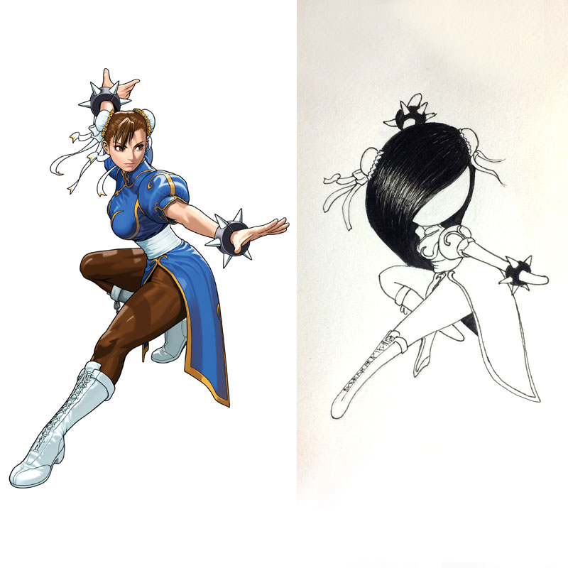 lilSOPHIE cosplaying videogame character Chun-Li from Street Fighter Ink Drawing, Day 28 of Inktober 2018, with Transgender Artist Sophie Lawson