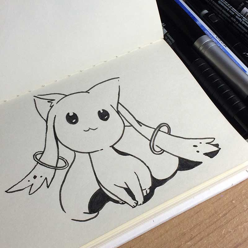 Kyubey, from the anime Madoka Magica Ink Drawing. Day 28 of Inktober 2018, with Transgender Artist Sophie Lawson