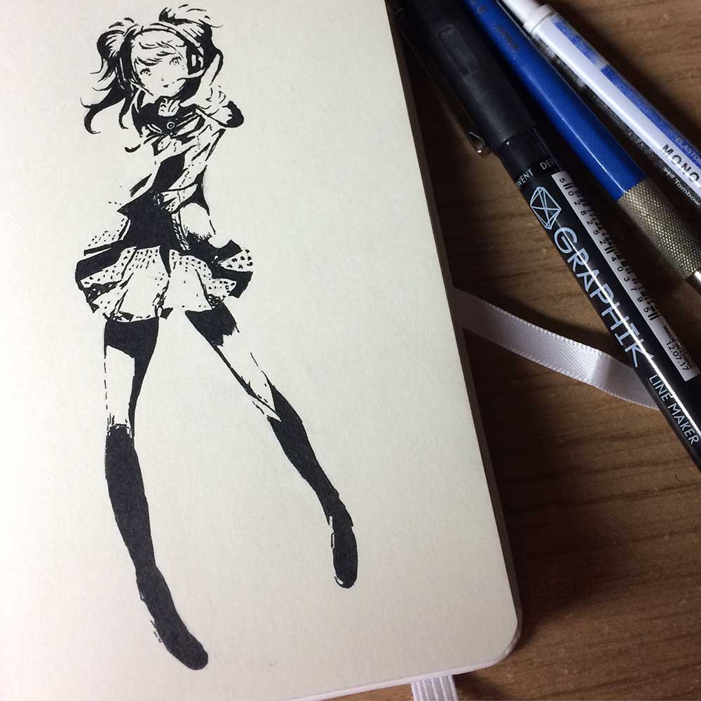 Rise Kujikawa From Persona 4 Ink Drawing. Day 3 of Inktober 2018, with Transgender Artist Sophie Lawson