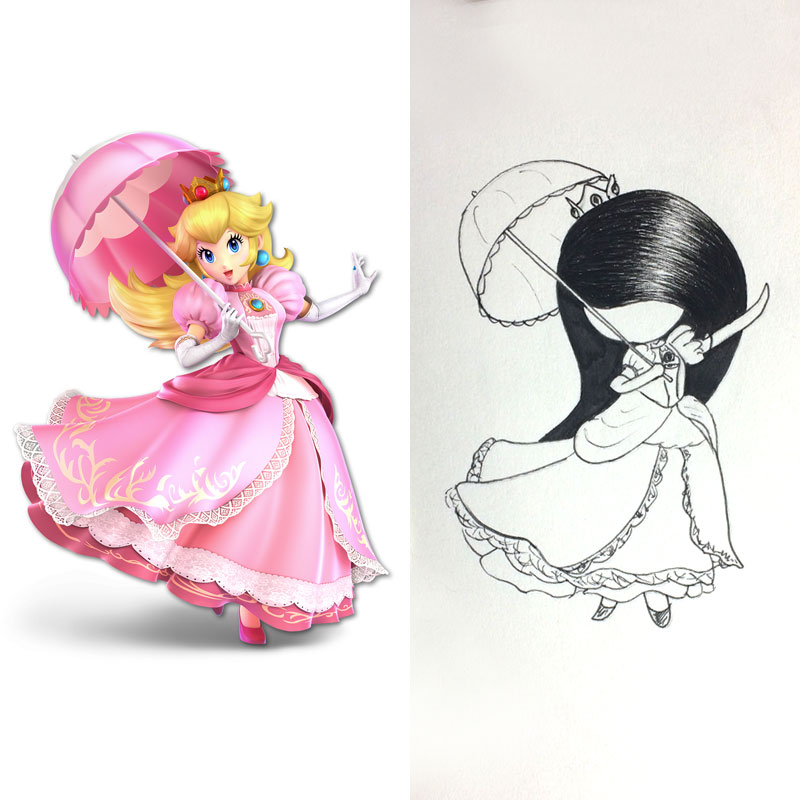lilSOPHIE cosplaying videogame character Princess Peach from Super Mario Bros Ink Drawing, Day 30 of Inktober 2018, with Transgender Artist Sophie Lawson