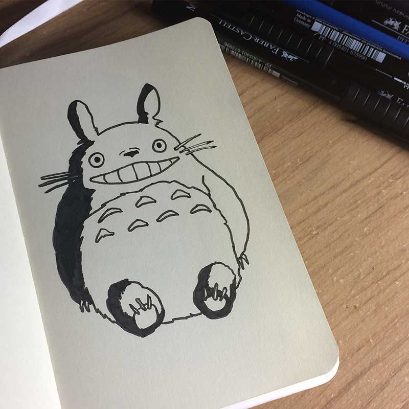 Totoro, from the anime My Neighbor Totoro Ink Drawing. Day 30 of Inktober 2018, with Transgender Artist Sophie Lawson