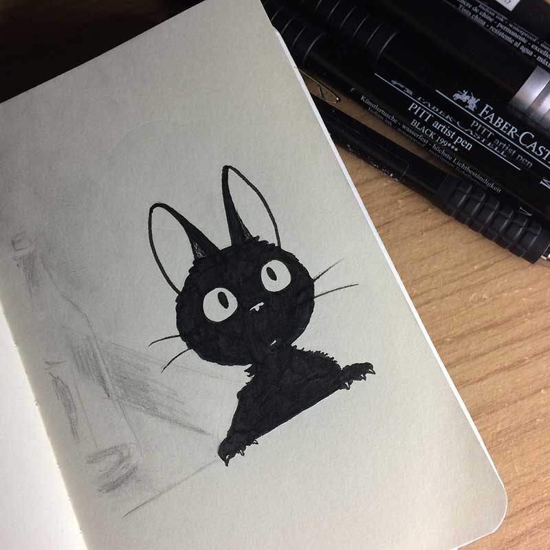 Jiji, from the anime Kiki's Delivery Service Ink Drawing. Day 31 of Inktober 2018, with Transgender Artist Sophie Lawson