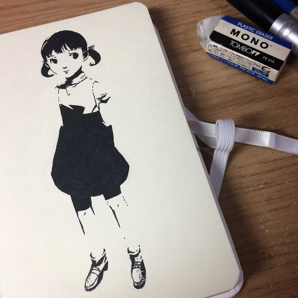 Nanako Dojima From Persona 4 Ink Drawing. Day 4 of Inktober 2018, with Transgender Artist Sophie Lawson