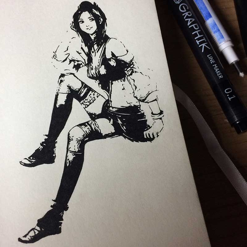 Lebreau From Final Fantasy XIII Ink Drawing. Day 6 of Inktober 2018, with Transgender Artist Sophie Lawson