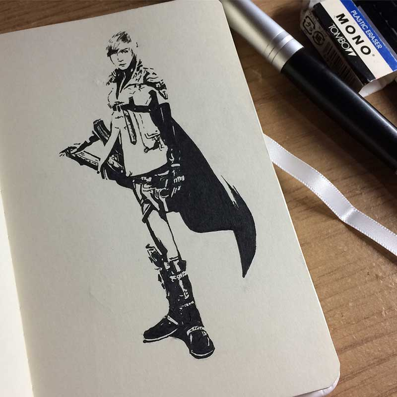 Lightning From Final Fantasy XIII Ink Drawing. Day 9 of Inktober 2018, with Transgender Artist Sophie Lawson