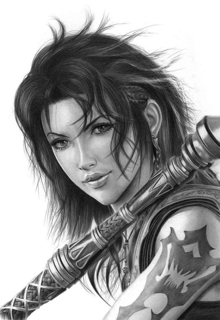Fang from the Video Game Final Fantasy XIII Graphite Realistic Pencil Drawing, by Transgender Artist Sophie Lawson