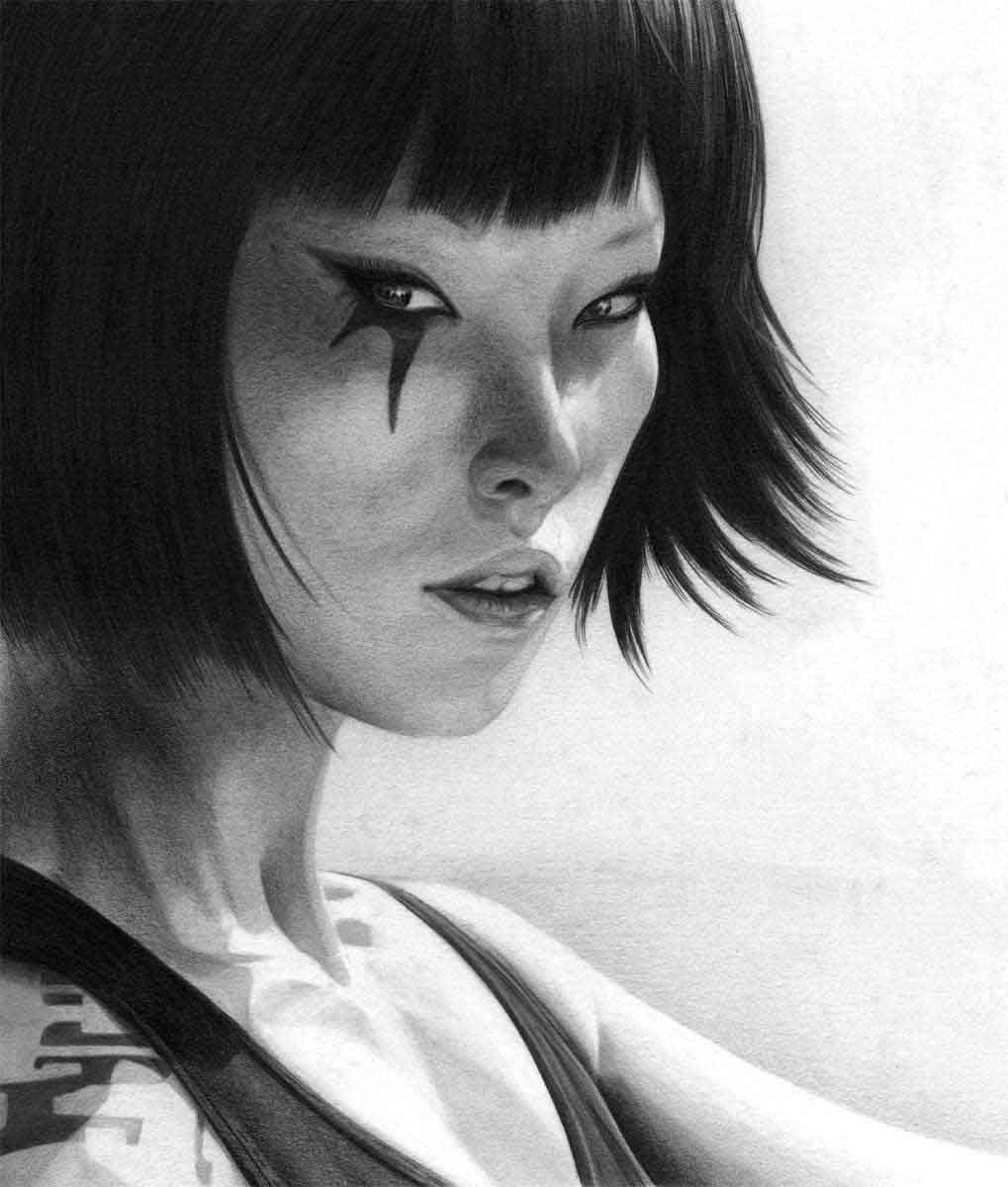 FAITH FROM THE VIDEO GAME MIRRORS EDGE REALISTIC PENCIL DRAWING