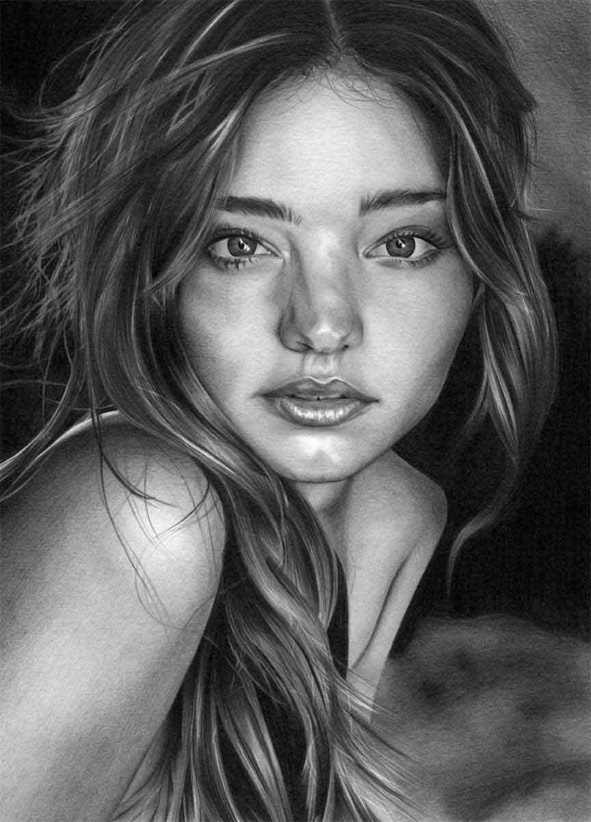 MIRANDA KERR REALISTIC PENCIL DRAWING