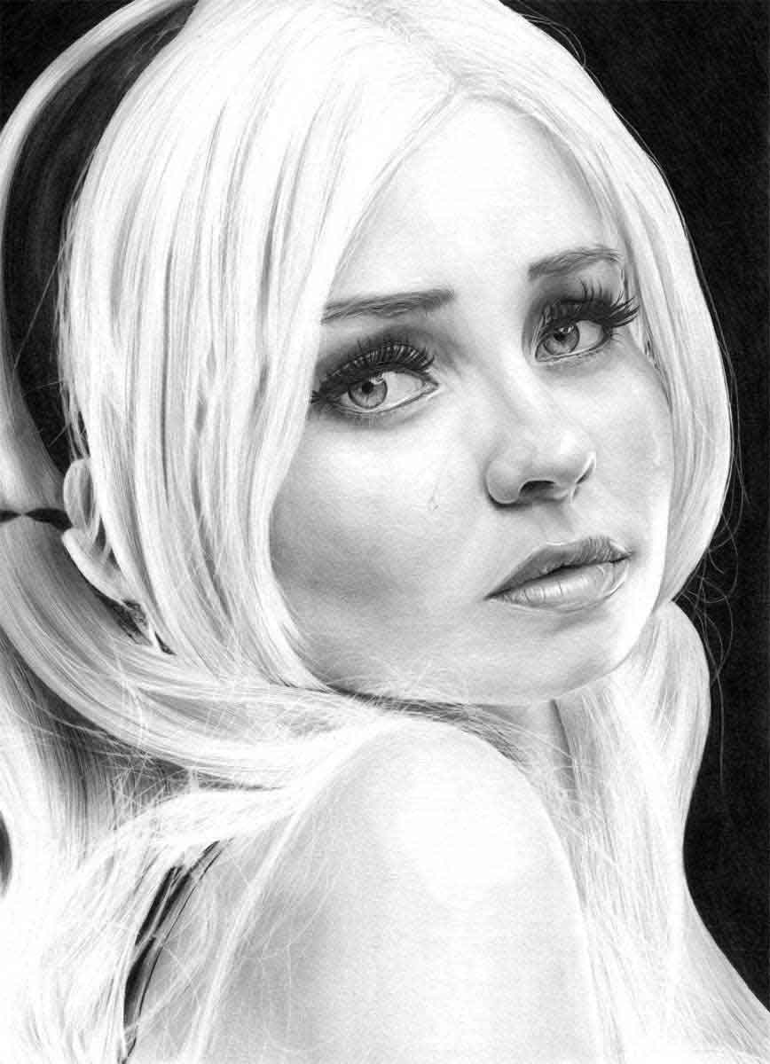 EMILY BROWNING REALISTIC PENCIL DRAWING