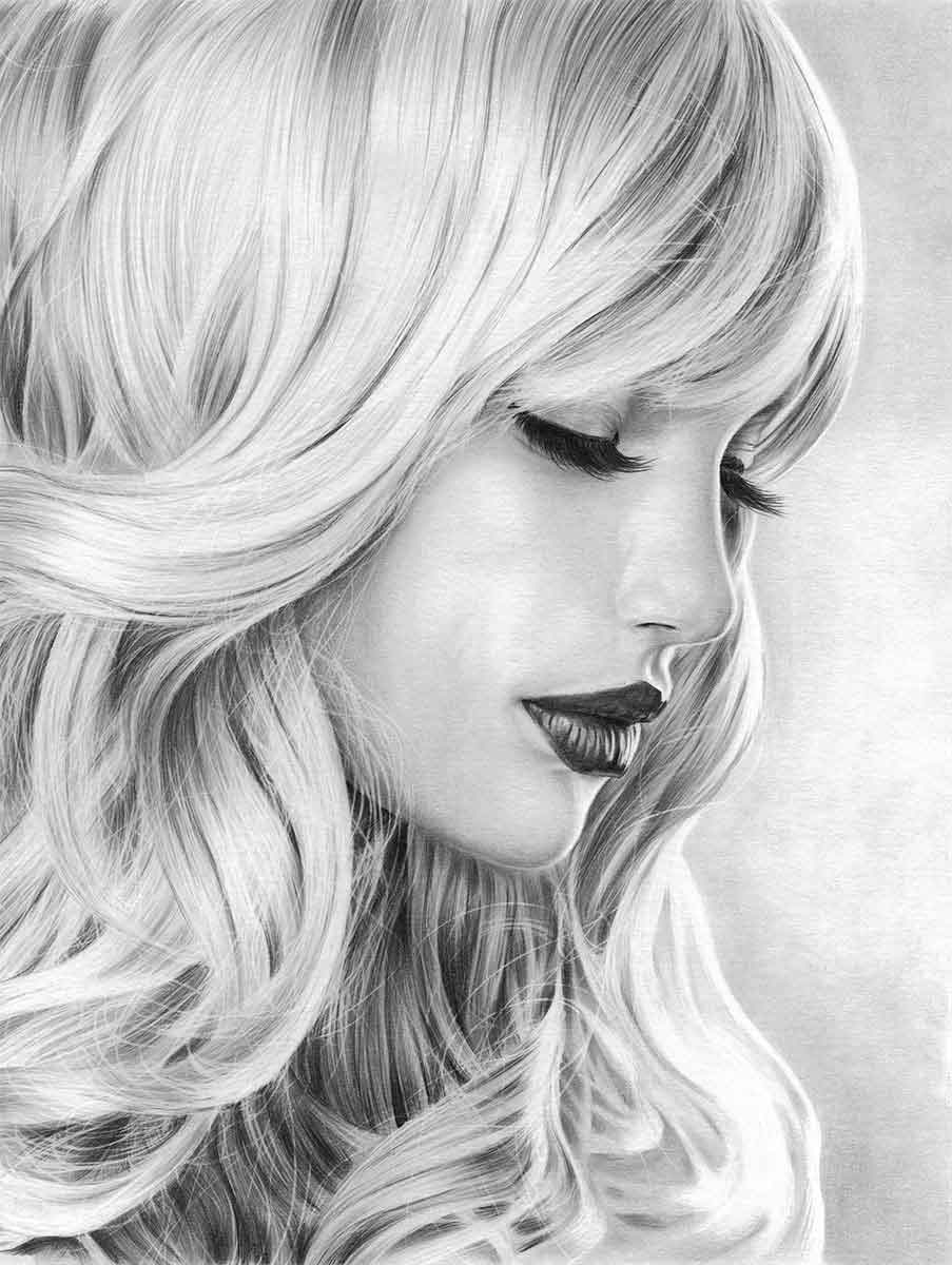 GIRL WITH LASHES REALISTIC PENCIL DRAWING