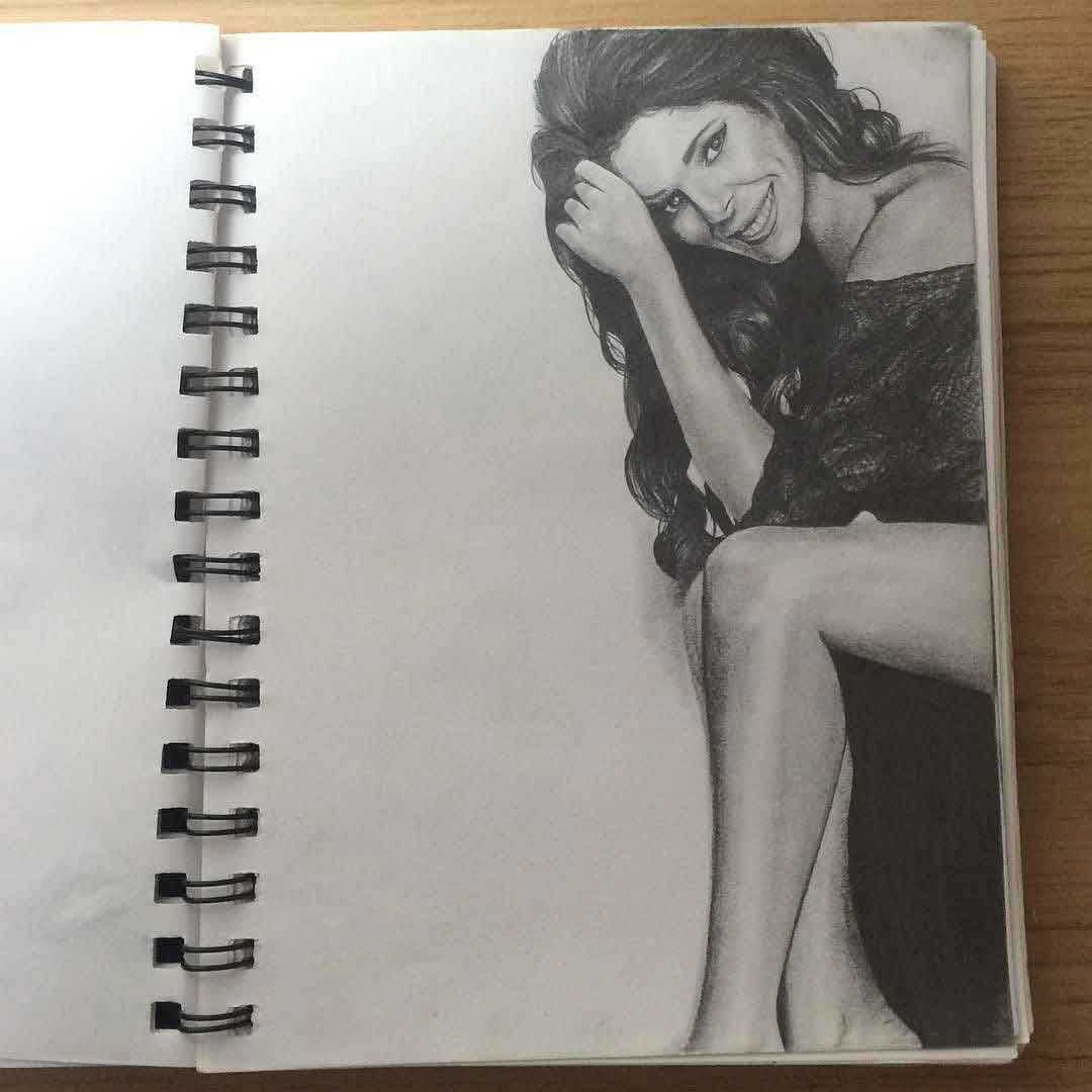GRAPHITE PENCIL FIGURE SKETCH OF CHERYL COLE