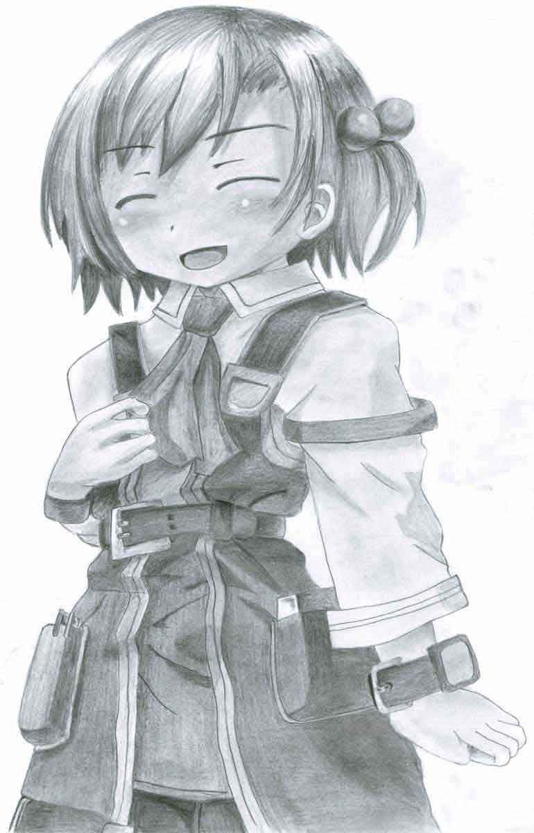 Realistic Pencil Drawing of Recette from the video game Recettear: An Item Shop's Tale, by Transgender Artist Sophie Lawson