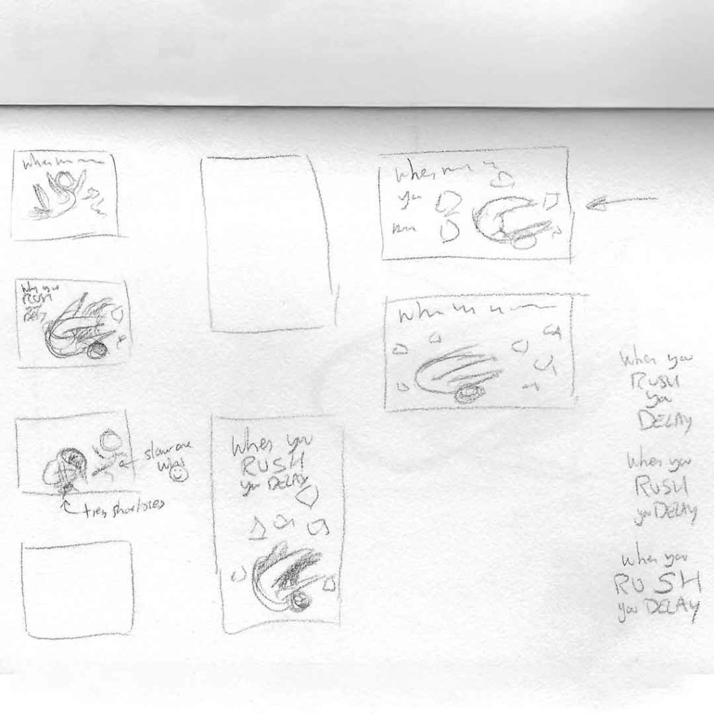 Affirmation 3: When You Rush You Delay, with lilSOPHiE - WIP Thumbnails by Transgender Artist Sophie Lawson